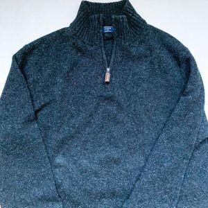 J Crew Men's Gray Wool Half Zip Sweater